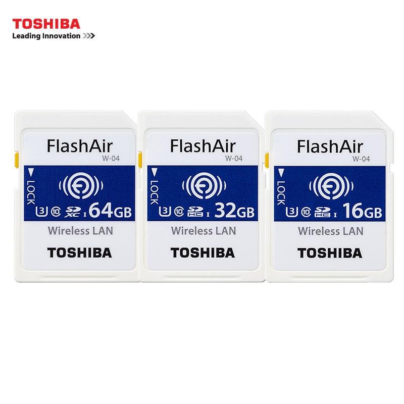TOSHIBA U3 Wifi SD Card FlashAir Class10 64GB SDXC Wireless 32GB 16GB W-04 WIFI Memory Card For Canon Nikon CASIO Digital SL toshiba exceria m301 micro sd class 10 uhs i 48mb s memory card 16gb 32gb 64gb 128gb