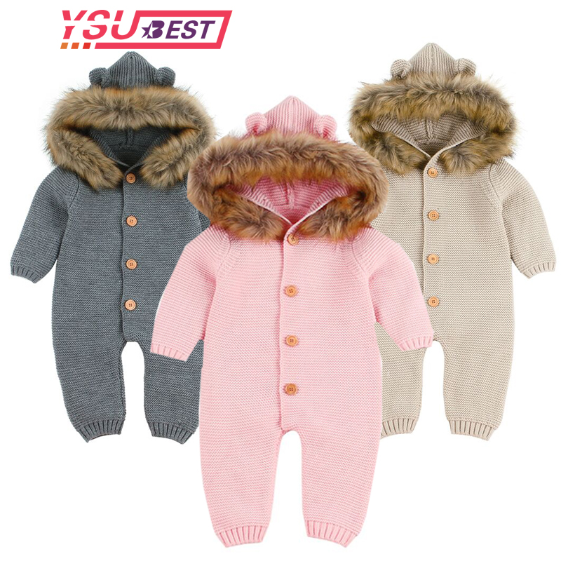 Newborn Infant Baby Boy Girl Knitted Winter   Romper   Jumpsuit Outfits Clothes Baby Casual   Romper   Fashion Cartoon bear jumpsuit