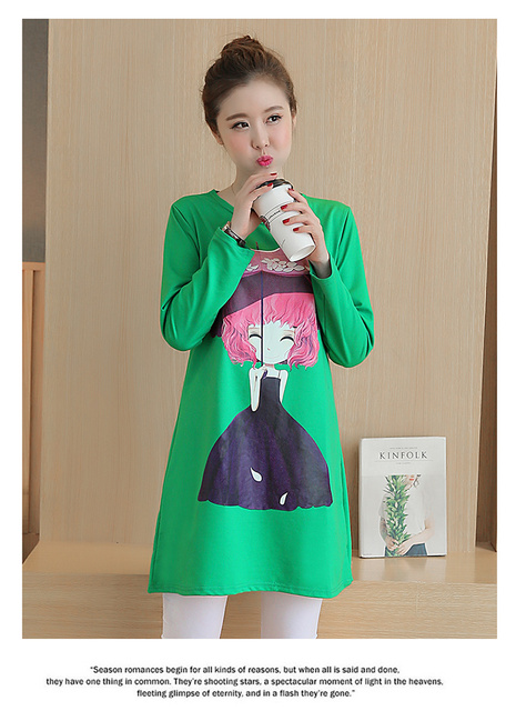 62a43e7841a Maternity Autumn Korean 3D stereoscopic girls cotton shirt and long  sections loose big yards pregnant women