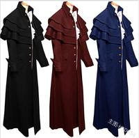 2019 New Medieval Coat Men Cosplay Medieval Cloak Victorian Turtleneck bridegroom Long Jacket Renaissance Men Costume S XL