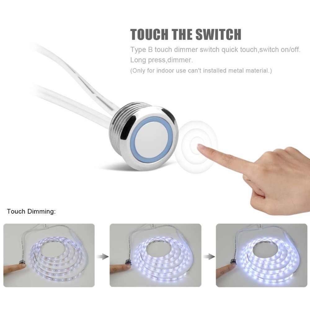 220 V 110 V tactile capteur interrupteur LED bande lumière 12 V Flexible adhésif LED bande lampe pour chevet placard PC écran rétro-éclairage décor