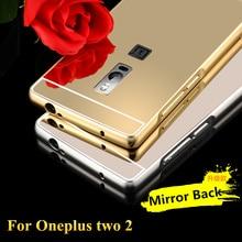 Новый Case Для Oneplus Two Case Крышки Роскошный Алюминиевый Металлический Каркас + акриловые Зеркало Задняя Крышка Для Один Плюс 2