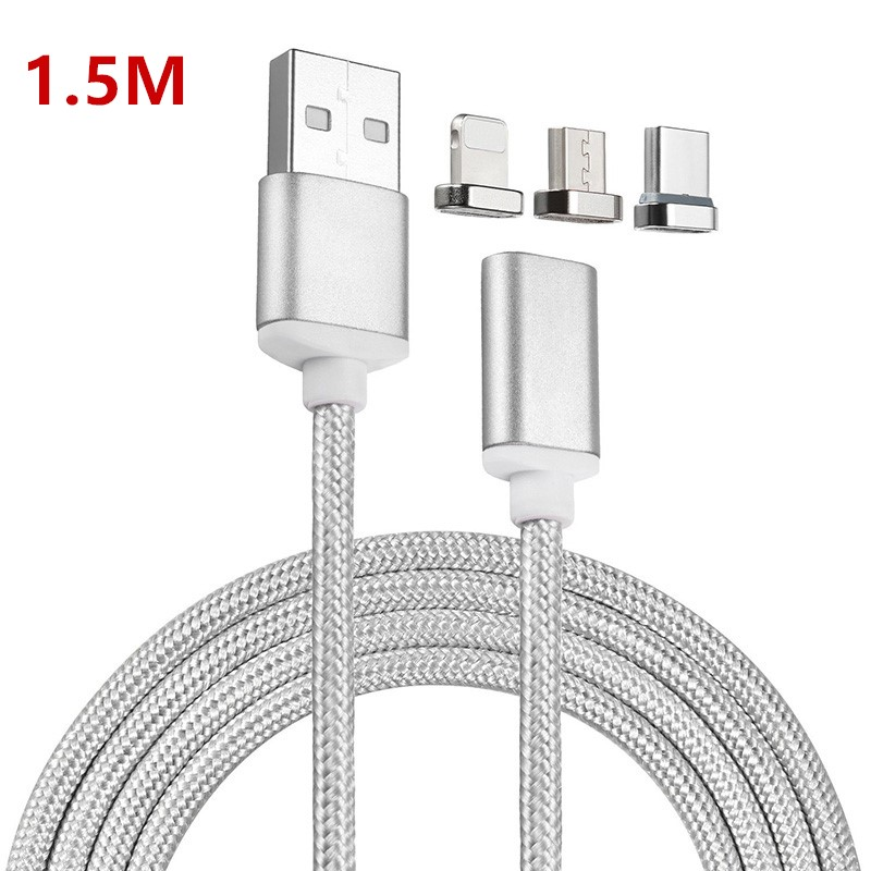 1.5M <font><b>USB</b></font> Type C/Micro <font><b>USB</b></font>/IOS <font><b>3IN1</b></font> Magnetic <font><b>Cable</b></font> <font><b>USB</b></font>-C Type-C Fast Charge Adapter Magnet <font><b>Cable</b></font> <font><b>For</b></font> <font><b>iPhone</b></font> Samsung Mobile Phone image