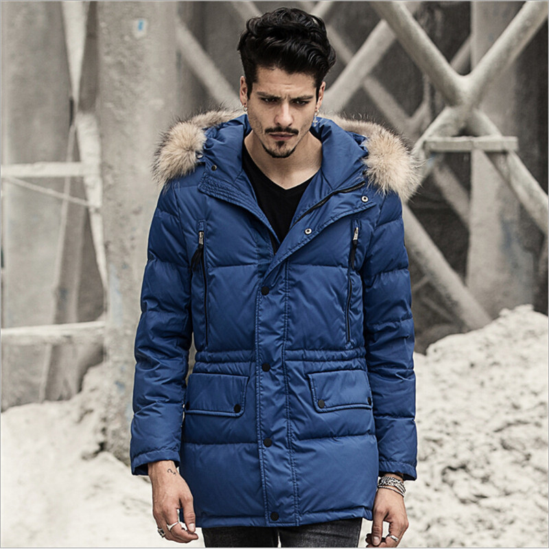 White Duck Down Men Winter Jackets With Hooded Fur Collar Navy Blue Winter Coat Thicken Brang Clothing For Men Jackets A2534