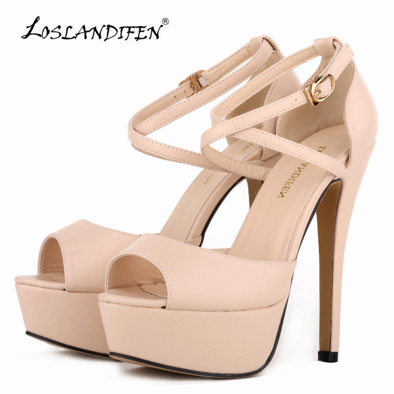 LOSLANDIFEN Women Pumps Fashion Platform Peep Toe Matte Leather Buckle Bride Shoes Woman Sexy Extremely High Heels Shoes 817-8MA