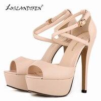 Loslandifen frauen pumps fashion plattform peep toe matte leder schnalle braut schuhe frau sexy extrem high heels schuhe 817-8ma
