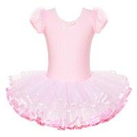 Freeshipping New Girls Kids Short Sleeve Cotton Leotard Ballet Tutu Gymnastics Skate Dance Birthday Skirt 3