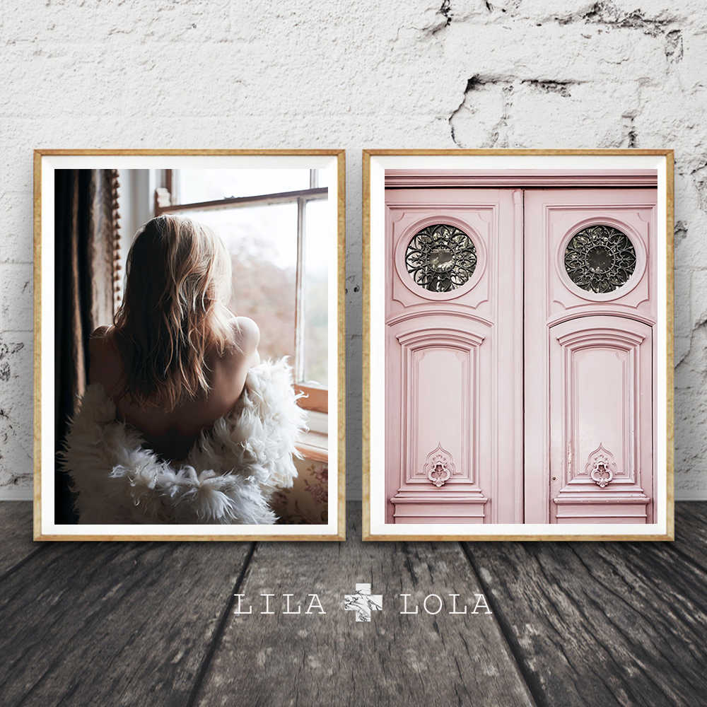 Quadro Beauty Figure Nordic Vintage Posters and Prints Canvas Painting Pink Door Wall Art Print Pictures For Living Room Decor