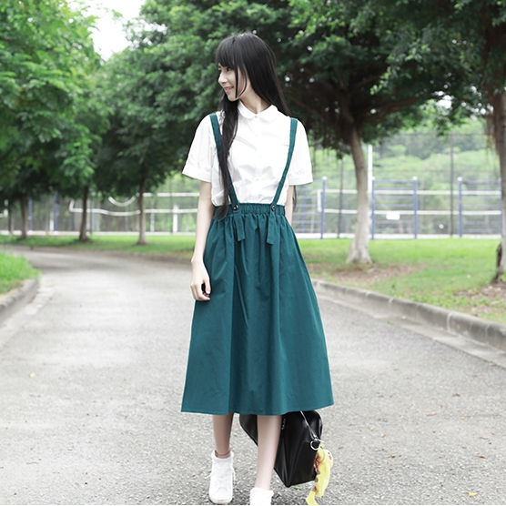 Japanese Mori Girl Literature A Line Skirt Solid Elastic