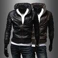 2014 new multi zipper collar cuff hem Korean men's leather jacket