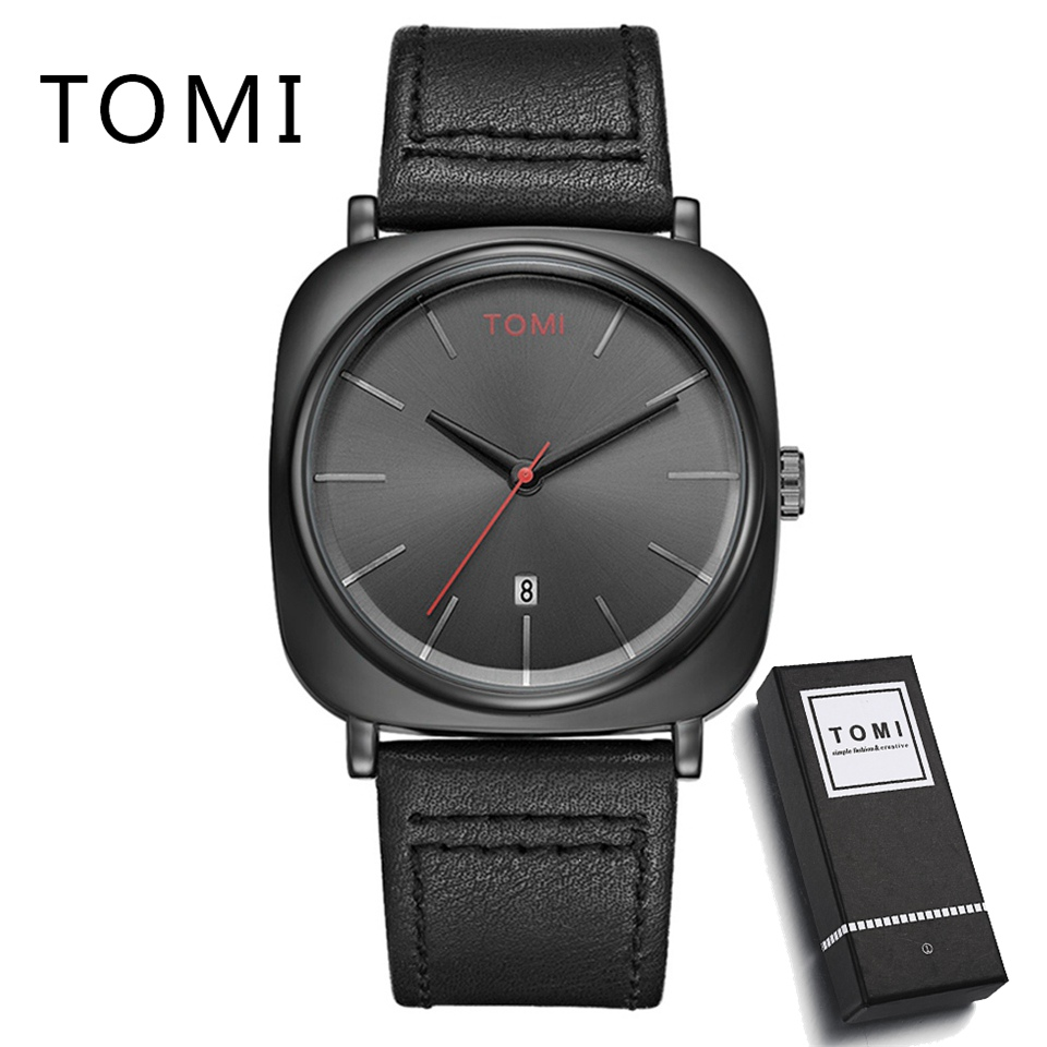 Tomi Brand Men Watches Fashion Luxury Simple Leather Strap Dress Sport Quartz Wrist Watch Man Military Watch T013 tomi men s watches 2017 new hot brand watch fashion leisure women quartz watch men luxury leather strap wristwatch relogio gift