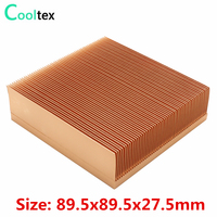 Pure Copper Heatsink 89.5x89.5x27.5mm Skiving Fin Heat Sink Radiator For Electronic Chip LED integrated circuit Cooling Cooler