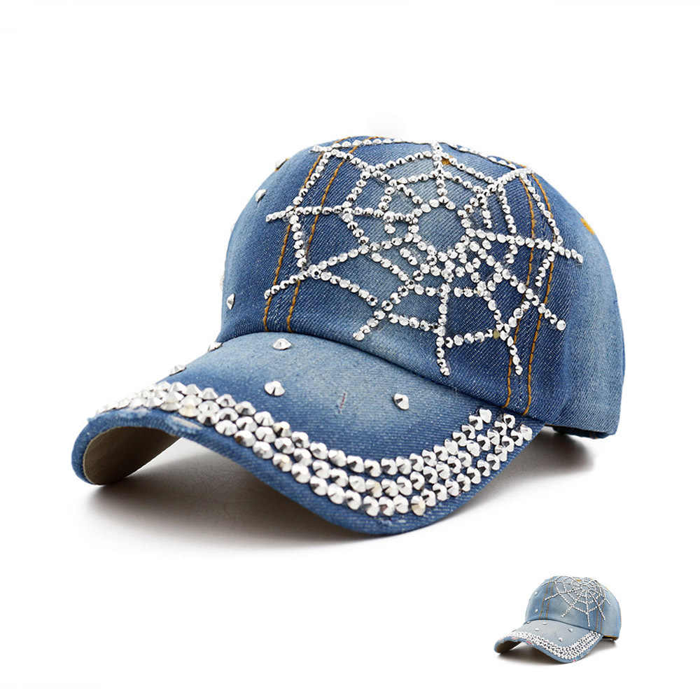 Hot Wholesale 2018 Spring Summer Autumn Popular Women Girl Woman Denim Snapback Cap Rhinestone Cross Fitted Baseball Caps Hats