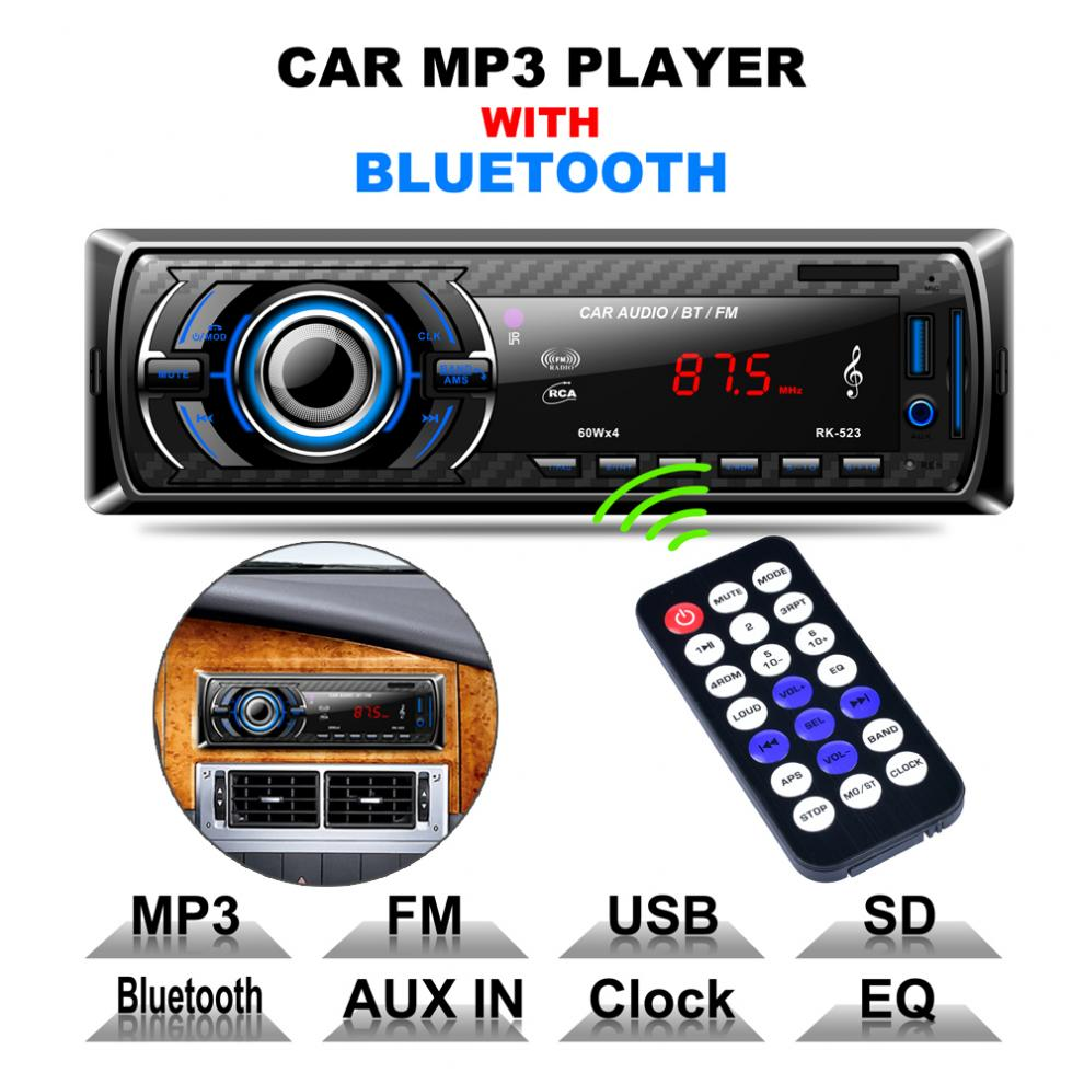 12V Bluetooth Car Radio MP3 Player Vehicle Stereo Audio Support FM / USB / SD / AUX In with Remote Control dc12v bluetooth car radio mp3 player vehicle stereo audio in dash aux input receiver support tf fm usb sd with remote control