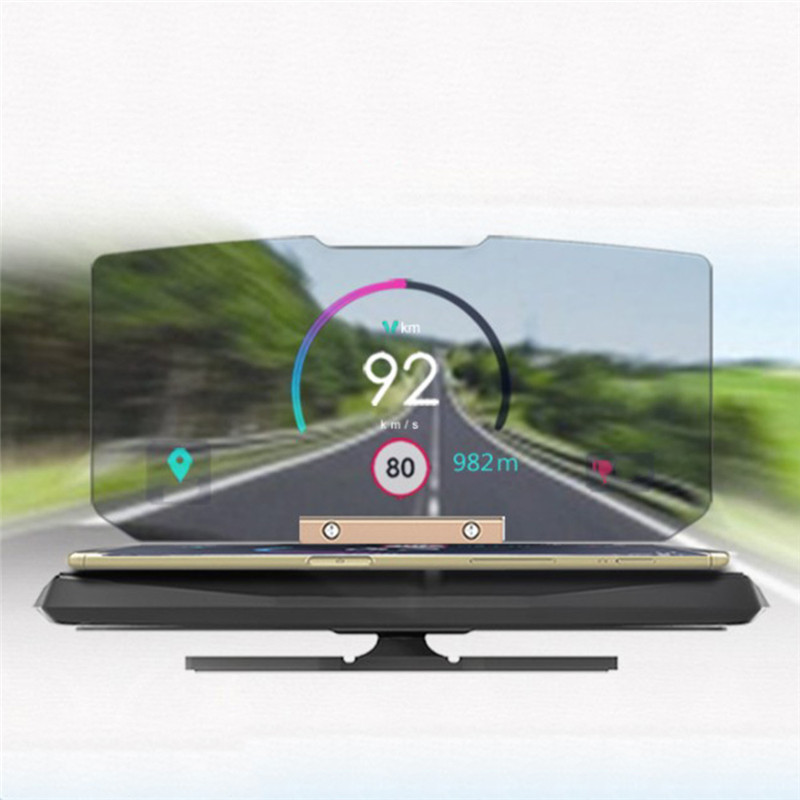 Universal Car Windscreen Projector HUD Head Up Display Mobile Phone Holder Multifunction 6.5 Inch For Smart Phone