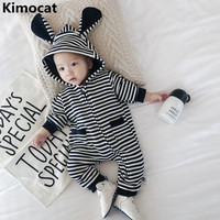 2018 New Knit Cute Cartoon Baby Pajamas Set Novelty Cotton Baby Jumpsuit Boys And Girls Striped