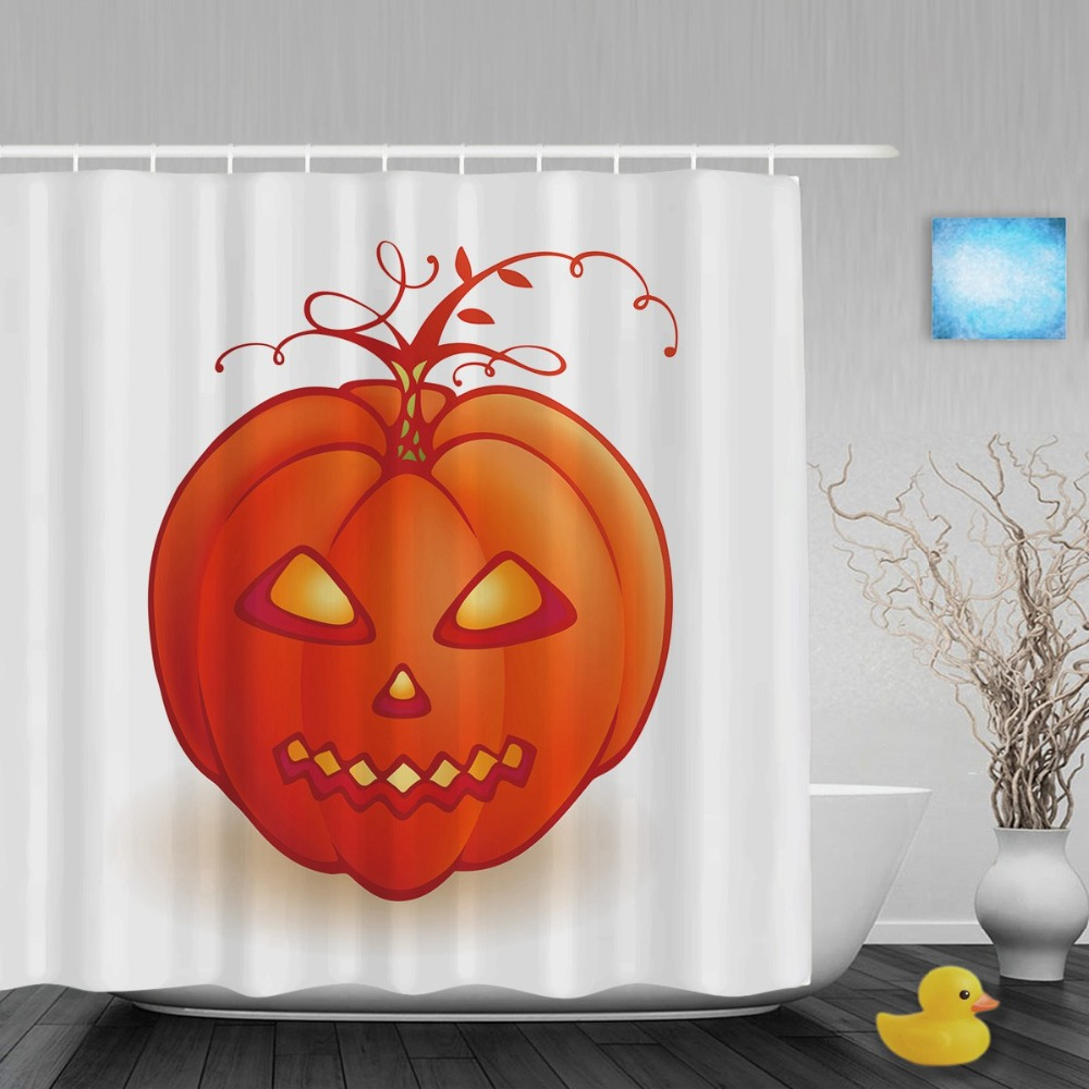 Funny Pumpkin Lantern Decor Bathroom Shower Curtain Welcome Halloween Shower Curtains Waterproof Polyester Fabric With Hooks