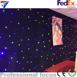 Free Shipping 4m*6m Led Lighting Led Star Hot Black Fireproof Velvet Star Curtains Backdrop Curtains Star Lighting