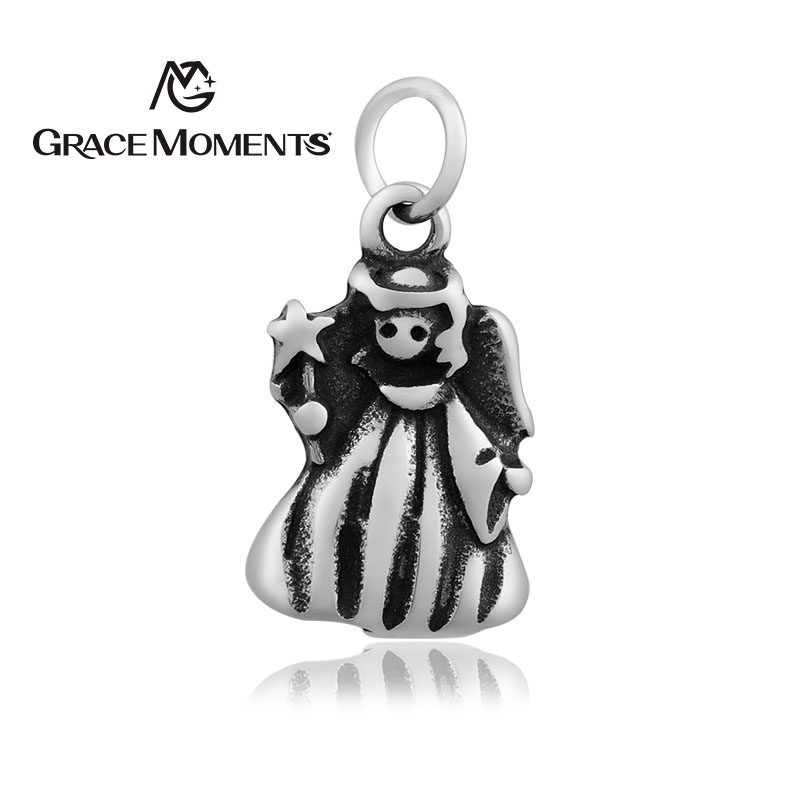 5pc/lot GRACE MOMENTS Never Fade Stainless Steel Pendent Angel Charm Jewelry High Quality Making Gift Accessories for Women Men
