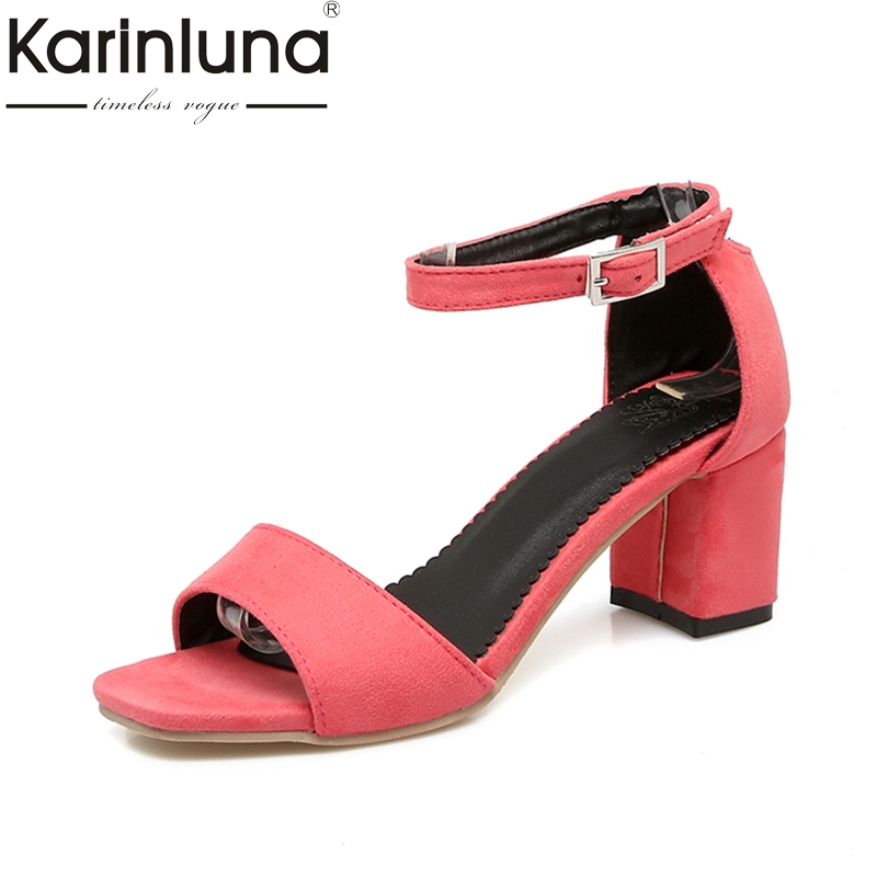 Karinluna 2018 Large Size 32-43 Ankle Strap Women Shoes Sandals Fashion Sqaure Heels Party Date Girls Shoes Sandal Woman karinluna 2018 large size 31 43 fashion ruffles women shoes sandals fashion wedges high heels party summer shoes woman