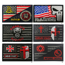 Embroidery Patch Tactical Skull Punisher Morale Badge Appliques Emblem Military Biker PVC Patches for Clothing