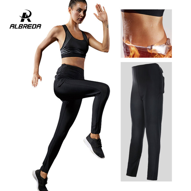1cef976f522 US $17.69 41% OFF|ALBRED Women Hot Sweat Sports Pants Weight loss sports  Yoga pants Fitness Running Tights Hight Waist Fitness Workout Leggings -in  ...
