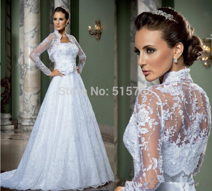 White Wedding Dress Jacket: 2015 White Wedding Dress With Jacket Lace Strapless