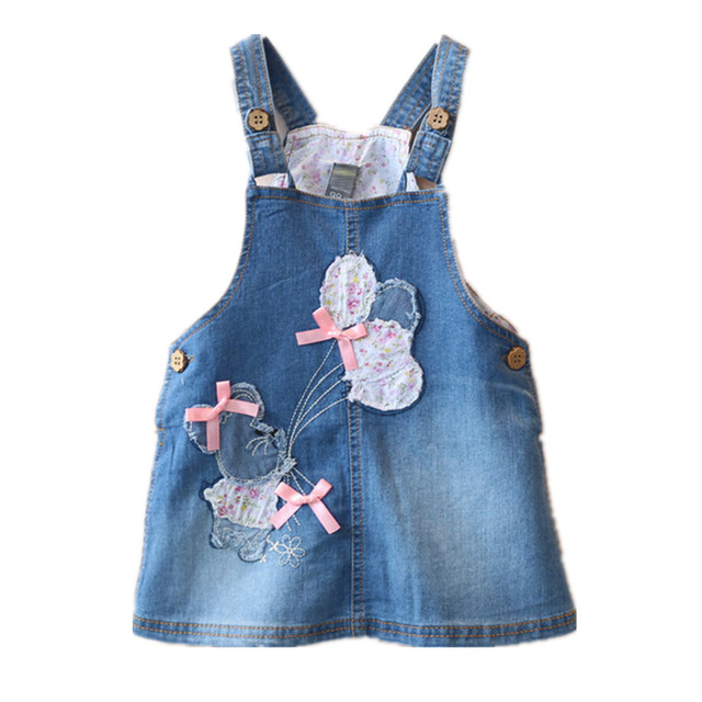 Kids Baby Girl's Children's Denim Suspender Casual A-line Blue Skirts Child  Girl Cotton Spring Summer Denim Skirts 2016