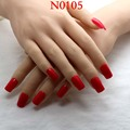 2016 24pcs New popular Rectangular section Candy color solid color false nails Orange red M 0105