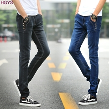 2017 new trend of the young male stretch feet buff men jeans trousers Button decoration