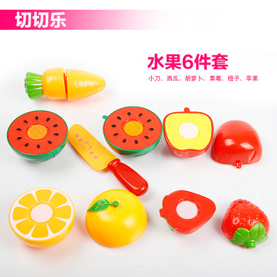 Baba gyerek műanyag konyhai játékok beállítása Childern Pretend Play Toy Cut Gyümölcs zöldségjátékok vicces vágáskészlettel, 14 darab kosárral
