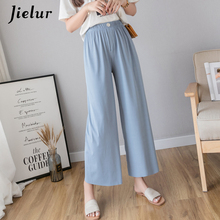 Jielur Elastic Wide Leg Pants Women Summer Loose Casual Solid Color Ladies Straight Slim Trousers Harajuku Korean Pantalon Mujer