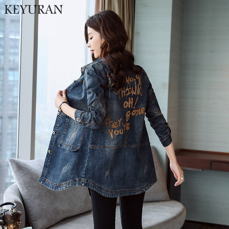 2018 Denim Jackets Women Hole Boyfriend Style Long Sleeve Letter Print Vintage Jeans jacket Denim Loose Spring Autumn Denim Coat