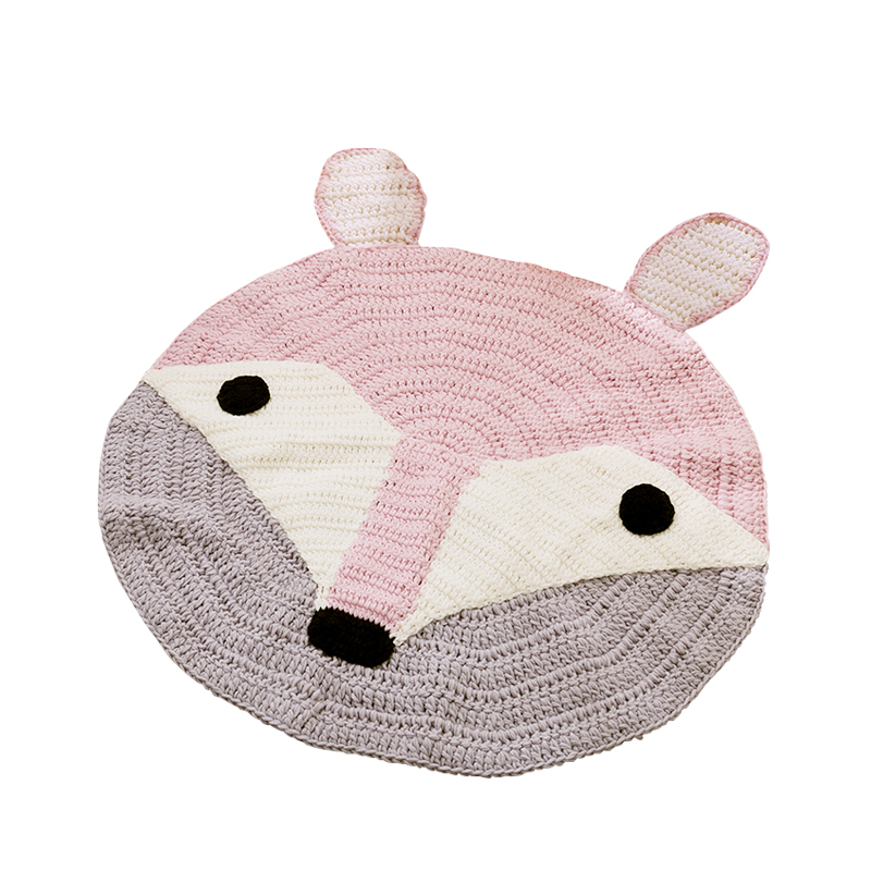 Cute Fox 3d Cartoon Storage Bag Kids Game Mats Handmade Woollen Diameter Baby Multifunctional Round Blanket Play Rug Mat