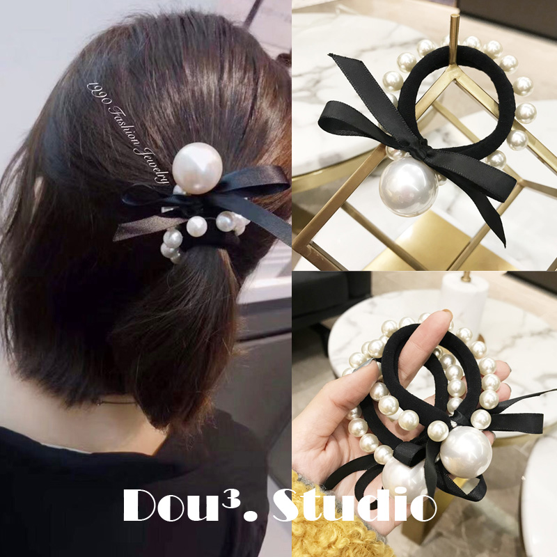 Hair Accessories Pearl Elastic Rubber Bands Ring   Headwear   Girl Bows Elastic Hair Band Ponytail Holder Scrunchy Rope Hair Jewelry