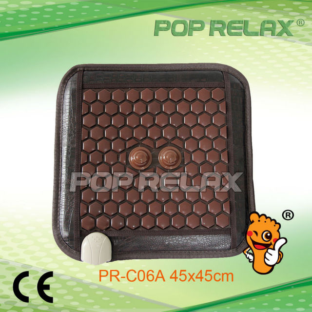 POP RELAX Tourmaline germanium thermal seat mat with 2pcs of raised big stone  PR-C06A 45x45cm