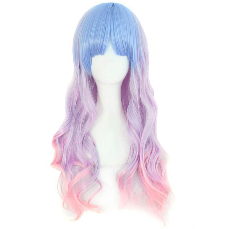 Girl Icecream Lolita wig Gradient Mix Colors Colorful long wavy hair wig Lolita Ombre Cute colors Hair Comic Con Headwear