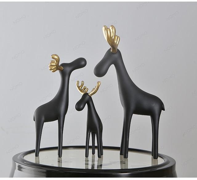 Nordic Deer Statue Animal Sculpture Figurine Miniture Home Decor Office Table Decoration Resin Crafts Dog Kid