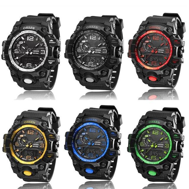 Ohsen marca horas reloj digital reloj de cuarzo relogio masculino relojes para hombre de los hombres del deporte militar hombres relojes casuales