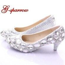 a38539ad9bf07b Argent Chaussures De Mariage Strass Blingbling Diamant Femme Pompes 2  Pouces Confortable Moyen Talon Mère de la Mariée Chaussure.