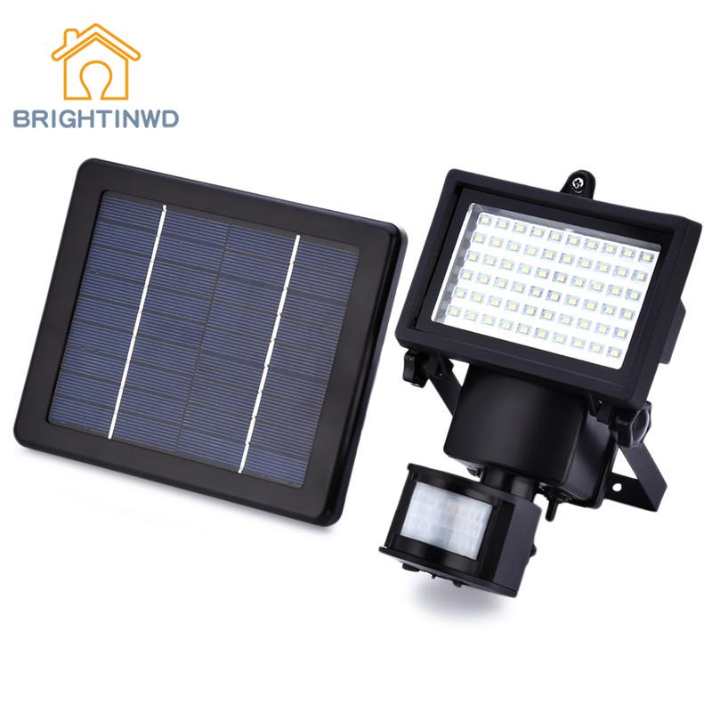 60 LEDs Solar Light IP65 Outdoor Solar Power Lamp Garden Lights PIR Body Motion Sensor S ...