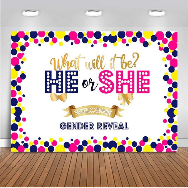 Neoback Gender Reveal Backdrop for Photography He or She Background for Party Photo Shoot Royal Crown Props Decoration Banner