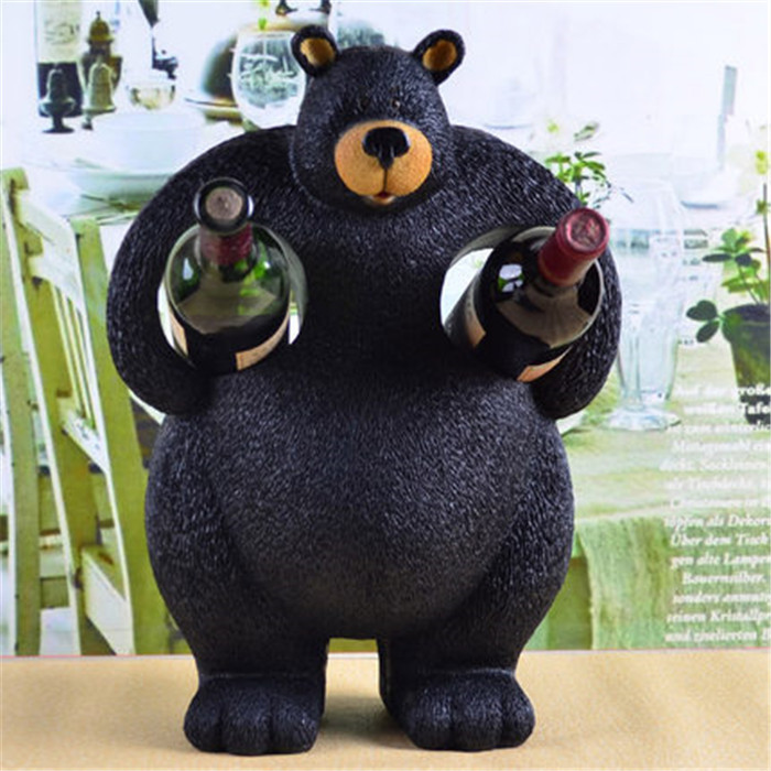 Resin Animal Creative Wine Bottle Holder Cute Black Bear Shaped Two For Homes Decoration Unique Furniture In Racks From Home Garden On