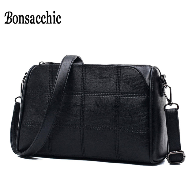 e6773573818 2017 Fashion Women s Shoulder Bag Female Small Summer Bags with Pockets  Designer Plaid Leather Cross Body Bags Over the Shoulder
