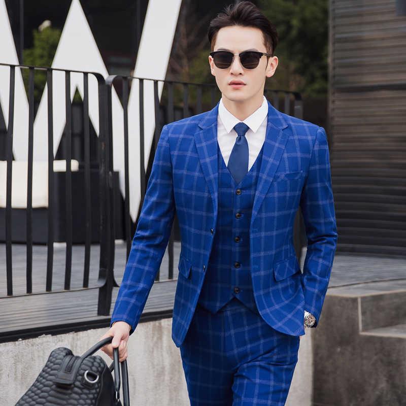 ジャケット + ベスト + パンツ英国スタイルの古典的なブルーストライプメンズスーツテーラースリムフィットブレザー結婚式の男性のスーツ 3 個プラスサイズ 5XL