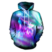 2018 New Design Men Hoodies 3D Print Galaxy Space Wolf Mens Casual Sweatshirts Hip Hop Sportwear Tracksuits Unisex Tops