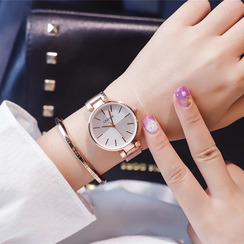 7168d0d8e376 ... quartz watches simple gold female clock ulzzang luxury brand stainless  steel ladies wristwatches. 50% OFF. Previous