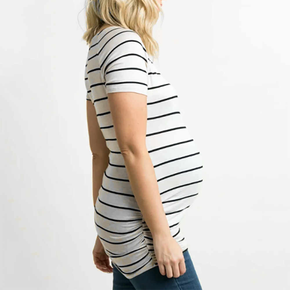 2741df284a82f ... Fashion Women Home Maternity Stripe Short Sleeve Summer Dress Stripped Pregnancy  T-Shirt Dress For ...