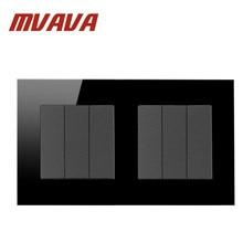 MVAVA Лидер продаж 6 Банд 2 Way Черный Кристалл Стекло стандарт Великобритании 146*86 мм двойной рамки кнопка выключатель света