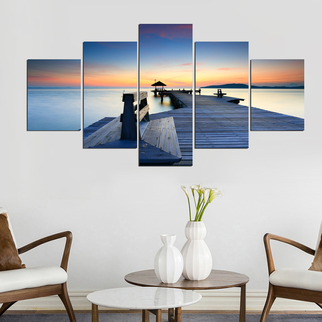 Framed Abstract Modern Home 5 Panel Wood Plank Road View Decor Canvas Print Painting Wall Art